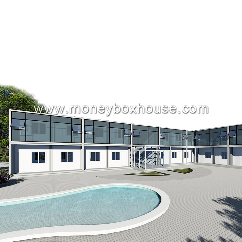 Best price 20ft modular prefabricated 2 story multi container hotel house
